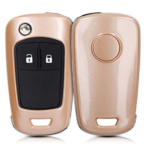kwmobile Autoschlüssel Hülle kompatibel mit Opel Chevrolet 2-Tasten Klapp Autoschlüssel - Hardcover Schutzhülle Schlüsselhülle Cover in Metallic Rosegold