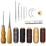 Fortspang Lederhandwerkzeug, 16-teiliges Nadel- und Faden-Set mit Hand-Nähnadeln, Bohr-Ahle, gewachstem Faden und Fingerhut für Näharbeiten