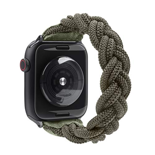Fun Gaau Elastic Paracord compatible Apple Watch Band Green Handmade Replacement Wristband compatible iWatch Series 6/5/4/3/2/1, Women Men (42MM 44MM (WRIST M:5.5-6.3 inch))