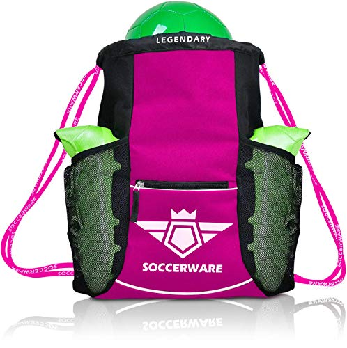 Soccer Bag Backpack - Organize Sports Gym Equipment - (Pink)