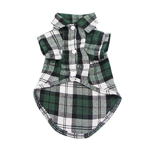 YAODHAOD Dog-Kariertes Hemd, Pet Fashion Plaid Shirt Haustier-Hundekleidung, Cat Plaid Kleidung Hemd weich und bequem (XS, Grün)