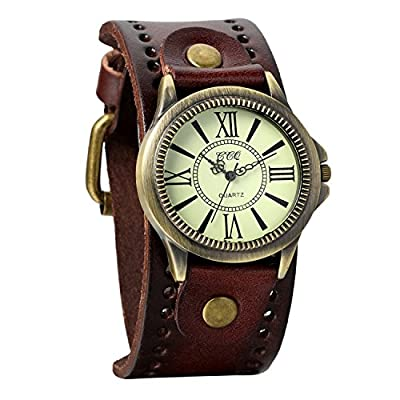 Avaner Unisex Punk Retro Bronze Round Dial Brown Wide Leather Belt Strap Cuff Bracelet Roman Numerals Analog Quartz Wrist Watches