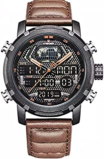 naviforce Men's NF9160-13 Dial Digital Leather Strap Watch