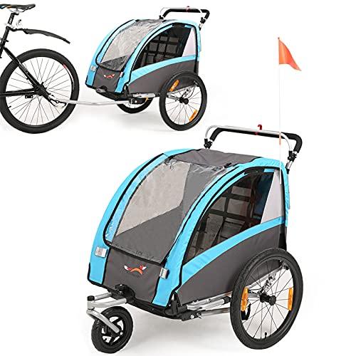 Fiximaster BT504 Remorque de vélo et poussette 2 sièges 2-en-1 pour bébé et enfant, rotation à 360 °, avec frein à main et suspension, bleu