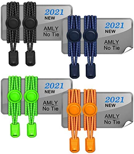 AMLY 4 Pairs of Elastic No Tie Shoelaces Upgraded Lock Reflective Shoe Laces for Kids and Adults product image