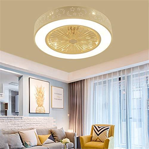 LightJH Led-plafondventilator met verlichting, plaats 96 W, dimbaar, met afstandsbediening, 3 snelheden, instelbare windsnelheid, moderne slaapkamer, 55 cm, onzichtbare stille ventilator