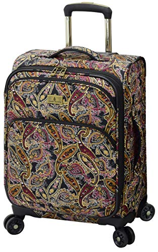 LONDON FOG Cranford Softside Expandable Spinner Luggage, black gold plum paisley, Carry-On 20-Inch