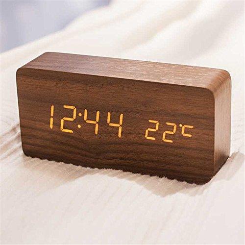 Queta LED Holz Wecker Digitalwecker Tisch Uhr Datum Temperatur Anzeige 12/24 Stunde (Braun)