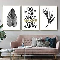 """北欧の黒と白の葉は壁の芸術のキャンバスのポスターを引用し、居間の家の装飾のための壁の写真を印刷します19.6""""x 27.5""""(50x70cm)フレームなし×3"""