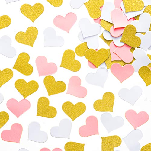 MOWO Glitter Heart Paper Confetti Wedding Party Decor