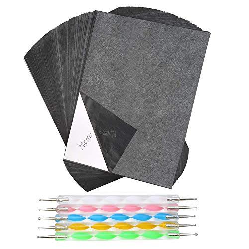 TXErfolg 100 Blatt kohlepapier A4 Pauspapier mit 5 Punktierung Stift Prägestift für Holz Papier Canvas 210mm×297mm