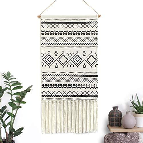 LOMOHOO Colgante de Pared de macramé Azteca Estilo Bohemio Banda de Borla de Flecos de algodón Hecha a Mano con Varilla de Cobre para Decorar (MS-Sendia-Black)