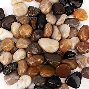 [18 Pounds] Pebbles Aquarium Gravel River Rock Natural Polished Decorative Gravel,Garden Ornamental River Pebbles Rocks Mixed Color Fish Tank Stones,Polished Gravel for Landscaping  Multicolor