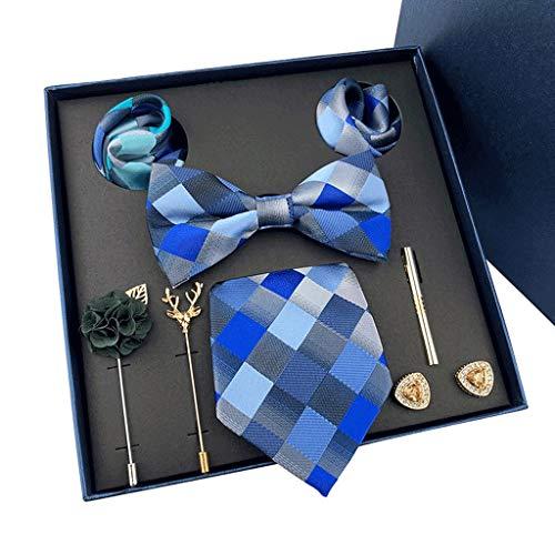 TOSLEJF New Mens Corbatas Regalos Cajas Tie de Boda Bowtie Pocket Towel Broche Gemelos Conjunto de 8 Piezas Regalo para Padre y Marido (Color : E)
