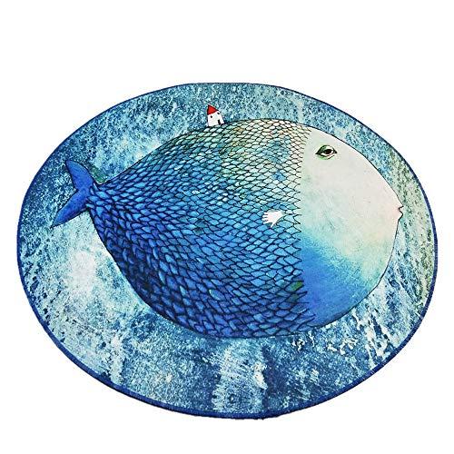 Morbuy Tapete Redondo Felpudos Alfombra 3D Alfombras Piso Moqueta Mats Pad para Habitación Decorativo (80cm, Pez Grande)
