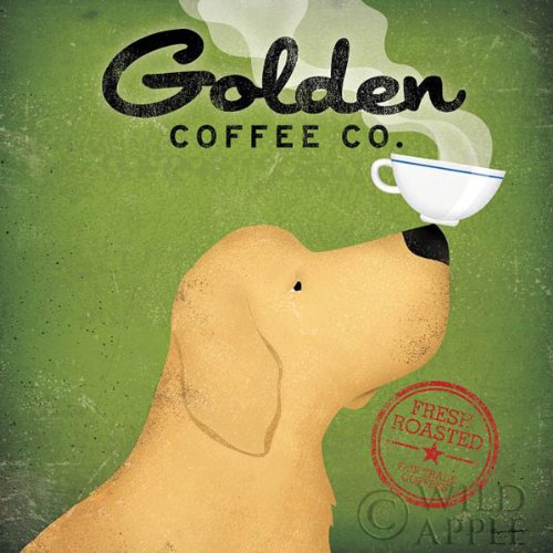 Golden Coffee Co by Ryan Fowler Coffee Sign Dog Lab Animals Print Poster
