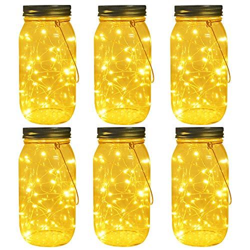 Solar Mason Jar Lights, Large Size Bigger Glass Mason Jar with 30 LEDs Fairy Firefly String Lights, Best Patio Yard Desktop Party Decor Outdoor Solar Hanging Lanterns (6-Pack Warm White)