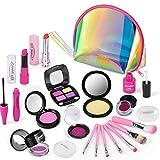 AMOYEE Juguetes de Maquillaje Niñas, 21 Piezas de Juego de Maquillaje niñas pequeños con Bolsa de cosméticos, cumpleaños para niñas de 5 6 7 8 9 años