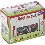 fischer - Cheville bi-matière et multi-matériaux DUOPOWER 6x30 avec vis / Boîte de 50