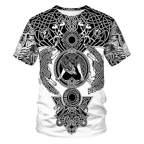 LUOYLYM-Impresión Digital De Verano Modelos De Pareja Cuello Redondo Casual Camiseta Hombres Y Mujeres Moda Casual Camisa De Manga Corta BSTB020 M