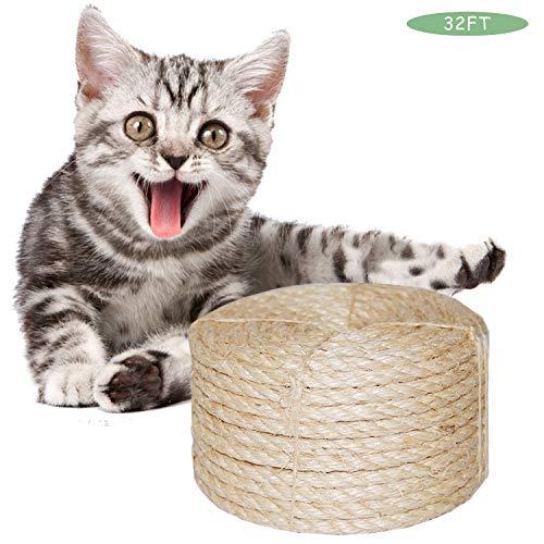 O'woda Natural Cuerda de Sisal Gatos 6mm, para Reemplazo Ár