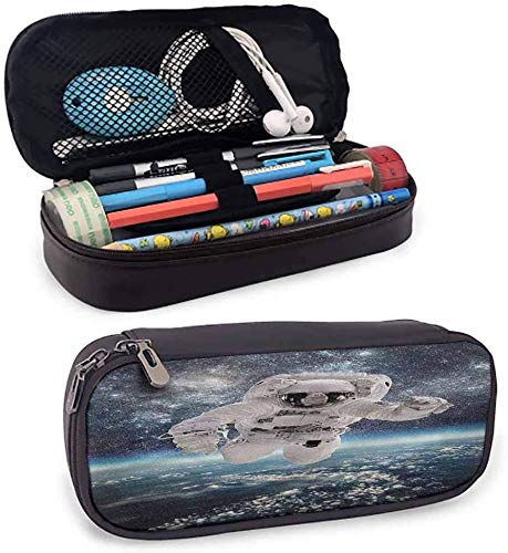 KLKLK Mäppchen Space Kawaii Pencil case Milkyway Theme Outer Space Leather Pencil case Protective Stationery