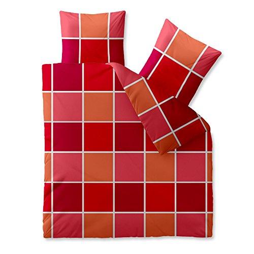 CelinaTex Harmony Bettwäsche 200 x 200 cm Mikrofaser Bettbezug Coco Kariert Rot Orange Weiß