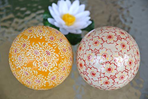 Maison en France Schwimmkugel -2 Stück- -10 cm im Blumendesign orange-rot für den Teich, stabile Dekokugeln mit Rosen aus Keramik-stabile Ausführung - 2 St. in Einer Packung für Haus und Garten