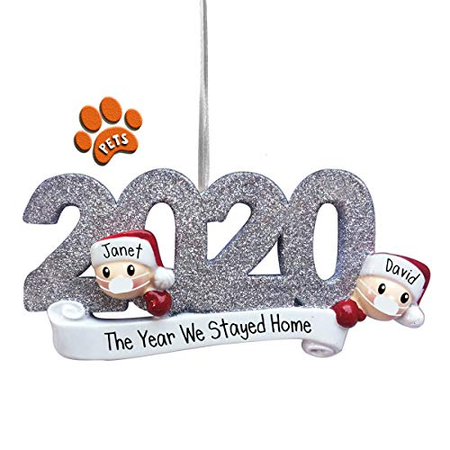 2020 Quarantine Couple - Silver - Personalized Christmas Ornament - Face Masks - Pandemic - Social Distancing - Optional Pets - Free Personalizing - Perfect Handwriting