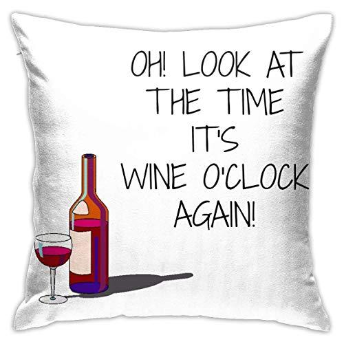 Fundas de Almohada, Fundas para Cojines de Lino Funda de Almohada Reloj Look It 'S Wine O' Funda Cojin Decorativa de Casa para sofá Dormitorio Coche,45x45CM