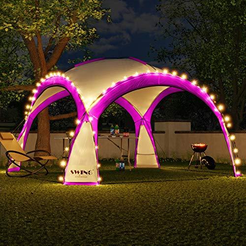 Swing & Harmonie LED Event Pavillon 3,6 x 3,6m DomeShelter Garten Pavillion inkl. Solarmodul Pavilion Designer Gartenzelt Camping Pavilon Partyzelt mit Beleuchtung (Pink)
