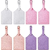8 Pieces Glitter Luggage Tags PU Leather Suitcase...