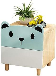 Diaod Table de Chevet Dessin animé Chambre Enfants Rangement en Bois Massif Ours Double tiroir Armoire de Chevet Mini Mini...