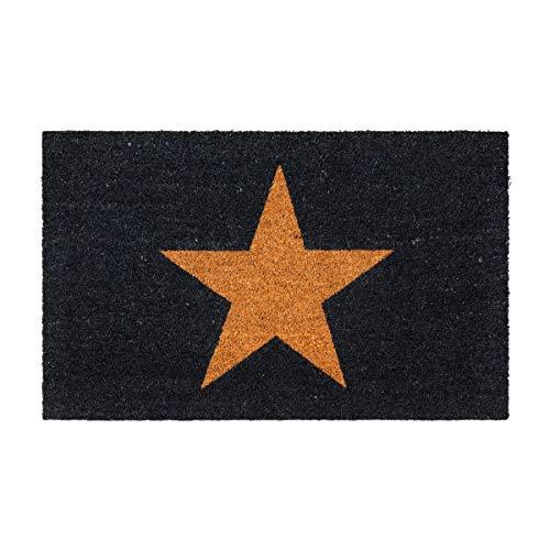 Maine Furniture Co Felpudo de Fibra de Fibra de Fibra de Coco, Color Negro, con diseño de Estrellas, 40 x 70 cm