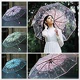 Paraguas transparente de flores de cerezo, paraguas transparente a prueba de viento, plegable para mujeres, niños, bodas, fiestas, camping, lluvia y sombrilla para viajes, escuela, vida diaria