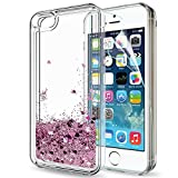 LeYi Compatible for iPhone SE Case (2016), iPhone 5S Case, iPhone 5 Case with 2pcs Tempered Glass Screen Protector for Girls Women, Cute Glitter Liquid Clear Protective Case for iPhone 5, Rose Gold