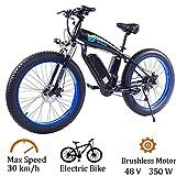 48V 350W bicicleta eléctrica de la bici de montaña eléctrica Fat Tire e-bike S-H-i-m-a-n-o 27 plazos de envío Frenos crucero de la playa for hombre Deporte de bicicletas batería de litio de disco hidr