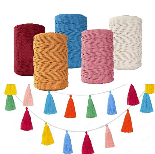 3mm Macrame Cord, 100M Macrame Cotton Rope for Wall Hangings Plant Hanger, DIY Craft Making Knitting and Home Decorations (red)