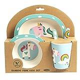 ORNAMI Set Vajilla de bambú para niños, 5 piezas, diseño de Unicornio - El Set incluye un...