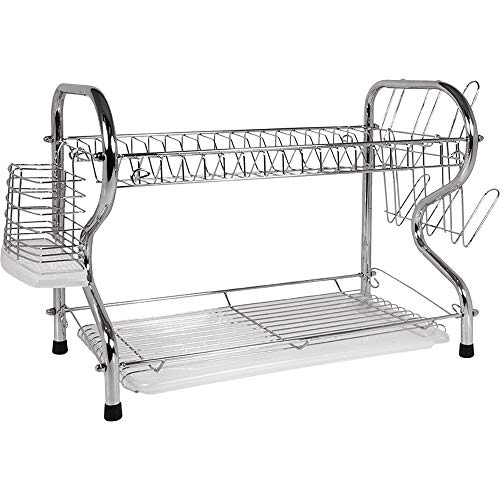 2 Tier Dish Rack/Dish Drainer Rack with Plastic Drain Tray - 16