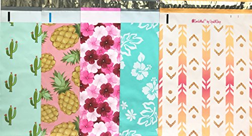 Designer Poly Mailers 10x13 : Mint Cactus, Pink Pineapple, Hibiscus, Mint Hawaiian, Arrow; Printed Self Sealing Shipping Poly Envelopes Bag (30 Mix Variety Pack #8)