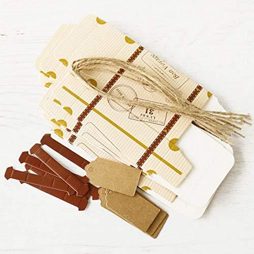 Oulensy 2pcs Creativo Mini Maleta Diseño Dulces Caja De Dulces Embalaje Caja De Cartón Chocolate Boda Caja De Regalo con La Tarjeta para El Partido del Acontecimiento
