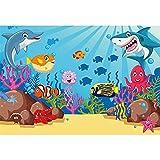 CSFOTO 3x2,5m Submarino Mundo Fondo Acuario Decoración Fondo Marina Bentos Acuático Plantas Delfines Tiburón Pescado Tanque Bandera Oceano Tema Cumpleaños Fiesta Suministros