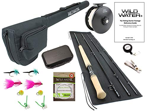 Wild Water Fly Fishing 11 Foot 4-Piece 7-Weight Switch Rod Complete Fly Fishing Rod and Reel Combo Starter Package for Steelhead