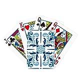 Juego de mesa de la diversión de la tarjeta mágica de la ilustración de la flor decorativa de Marruecos azul