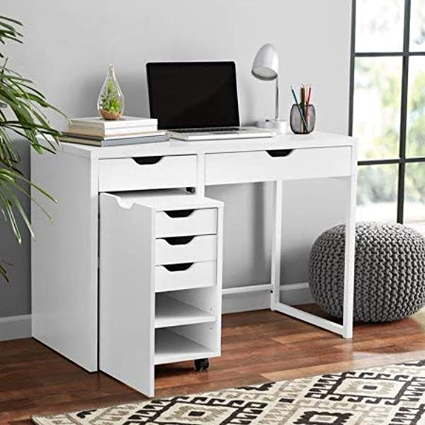 Stylish Work Desk With Metal Frame With Storage For File Cabinet White