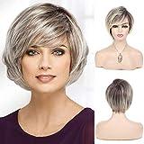 Peluca gris Pelucas naturales rectas cortas Pelucas de pelo sintético para mujeres Resistente al calor Karneval Cosplay Halloween