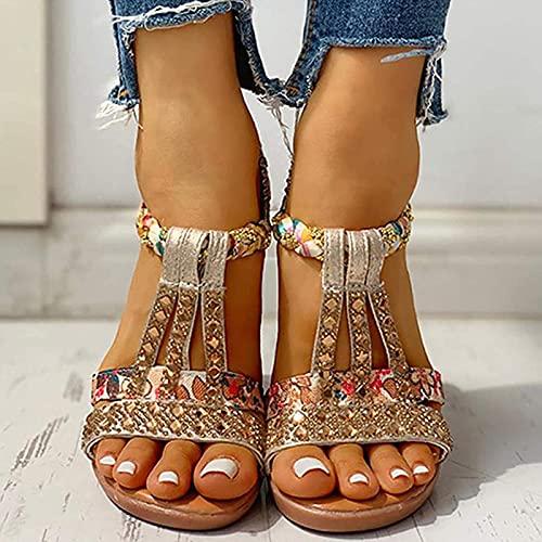 Sandalias Mujer Bohemias,Sandalias Mujer Verano 2021,Zapatos de Cuña con Plataforma,Gladiador Romano de...