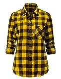Dioufond Women Flannel Shirt Long Sleeve Buffalo Check Womens Plaid Flannel Shirts Yellow Flannel M
