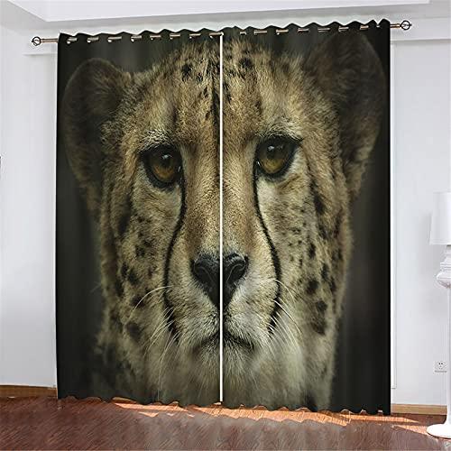 Patrón De Leopardo Impreso En 3D, Pliegue Ondulado, Buen Efecto De Aislamiento Térmico, Utilizado Para Sala De Estar Dormitorio Estudio Balcón Cortina De La Habitación De Los Niños 150x166cm(2pcs)